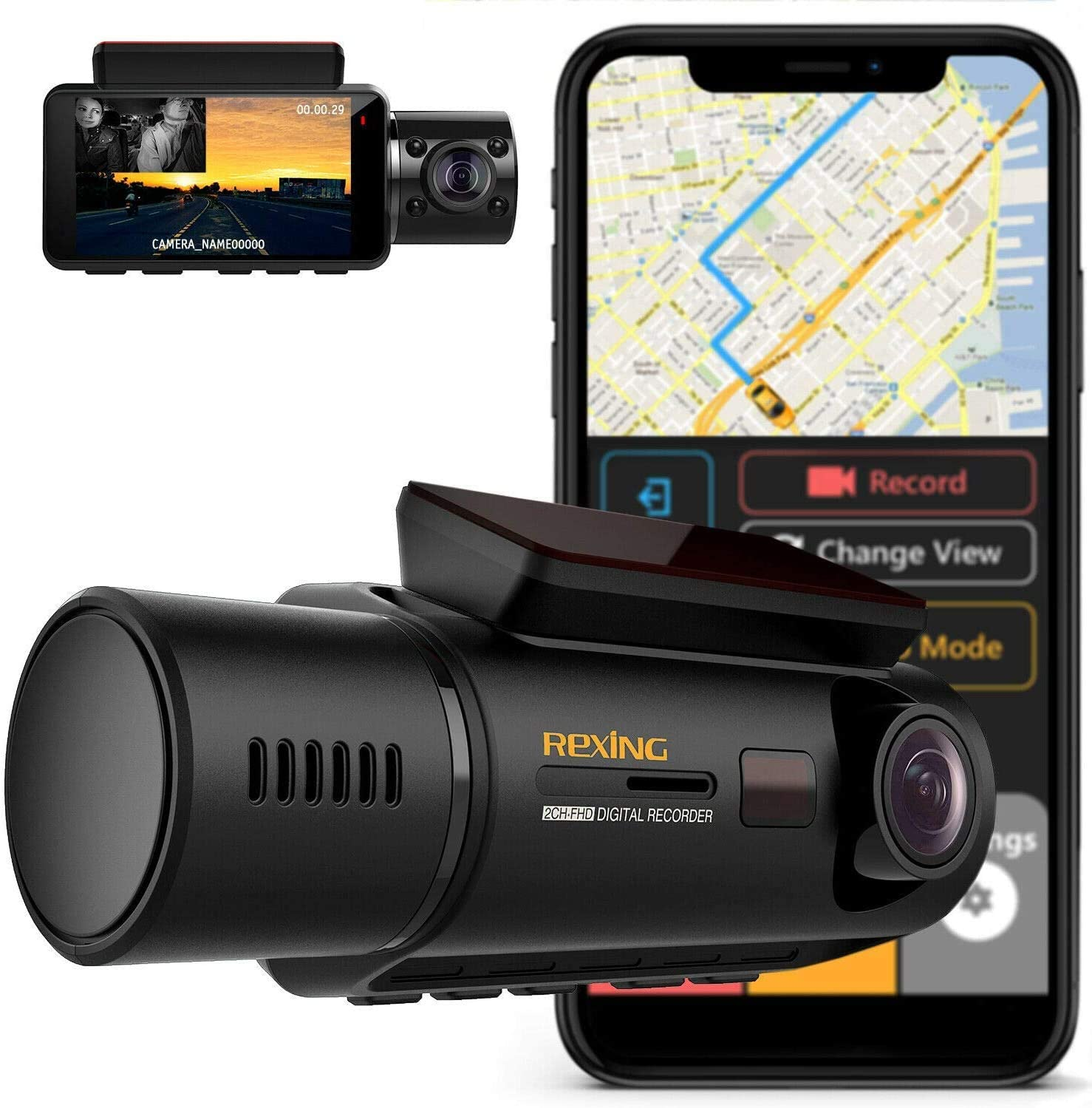 "Rexing V3 Dual Camera Front and Inside Cabin Infrared Night Vision UHD 2160p WiFi Car Taxi Dash Cam with Supercapacitor, 2.7"" LCD Screen, Parking Monitor, Mobile App (2020 Version V3 - with GPS)"