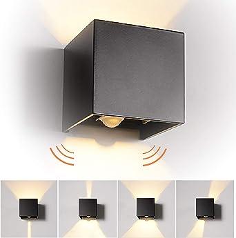 12W LED Apliques de Pared con Sensor de Movimiento Interior/exterior, modernas Lamparas de comedor, salon, Jardín con ángulo ajustable Diseño impermeable IP65 3000K Blanco Cálido (Negro): Amazon.es: Iluminación