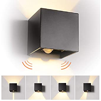 12W LED Apliques de Pared con Sensor de Movimiento Interior/exterior, modernas Lamparas de