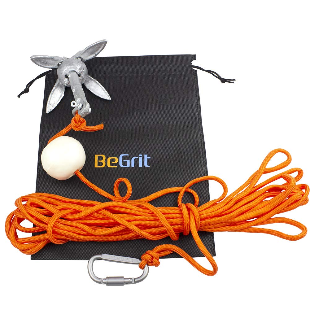 BeGrit Small Boat Anchor Kit Folding Grapnel Anchor Carbon Steel for Canoe Jet Ski SUP anchor 3.3 lb with 32.8 ft /ø 6 mm Anchor Line Carrying Bag
