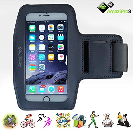 online retailer 8f0c2 ac1a4 AmaziPro8 Sports Armband buildin Key Holder, Armband For iphone 6 Plus  6sPlus, Best iphone Armband For Running + FREE 5 Downloadable Health Books  - ...