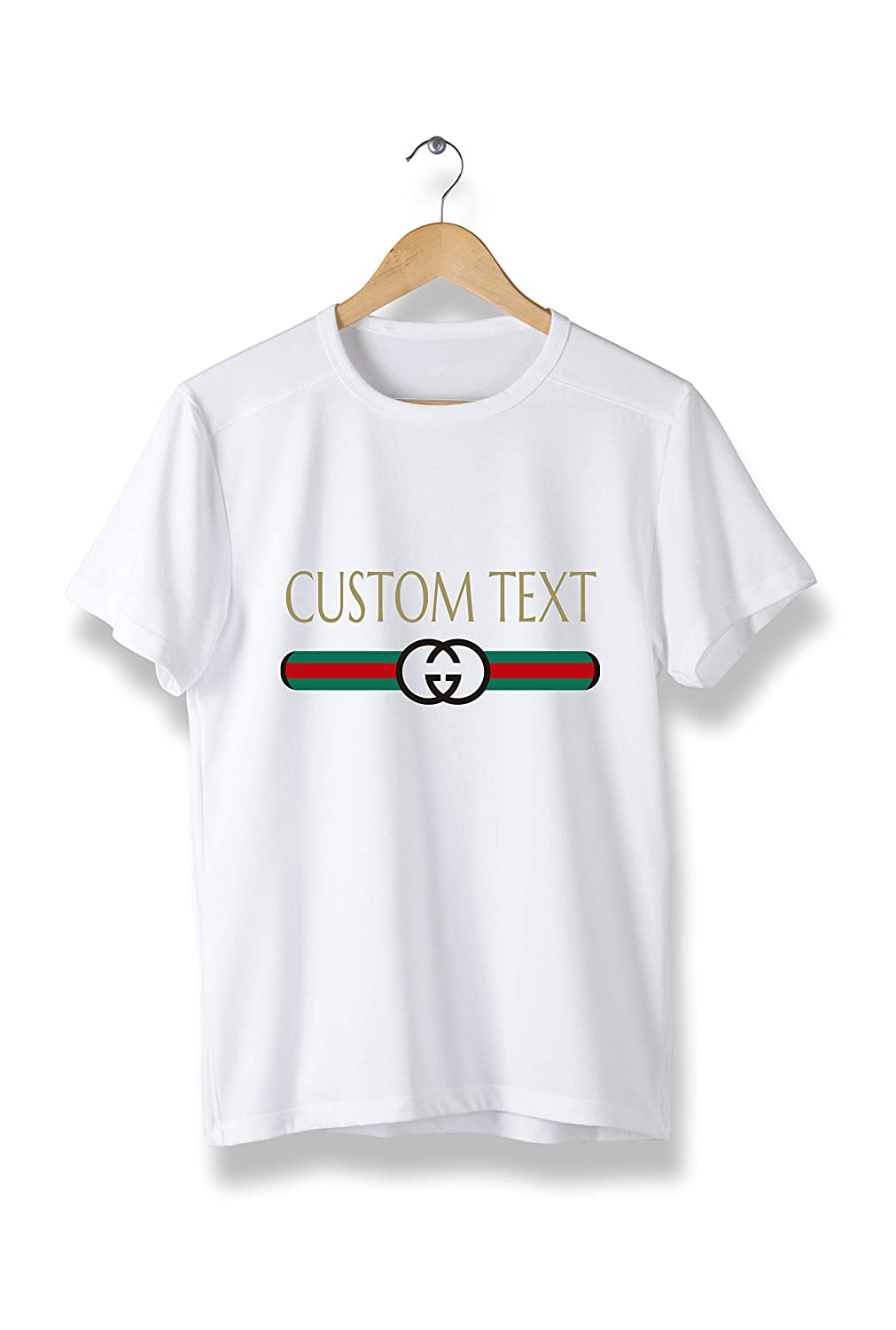 a51f4850d7 Custom Text Gucci Style t-Shirt - Cool Modern Brand tees Unisex (Y09) White
