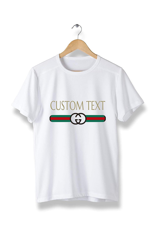 4845de9f81d Custom Text Gucci Style t-Shirt - Cool Modern Brand tees Unisex (Y09) White