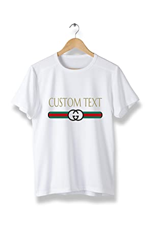 e6be7334a Amazon.com: Custom Text Gucci Style t-Shirt - Cool Modern Brand tees ...