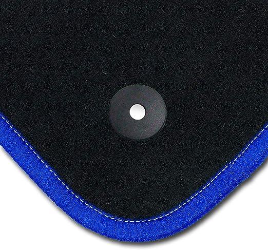 Bär Afc Hy01578 Exclusive Line Auto Fußmatten Velours Schwarz Rand Kettelung Blau Stick Logo Blau Set 4 Teilig Passgenau Für Modell Siehe Details Auto