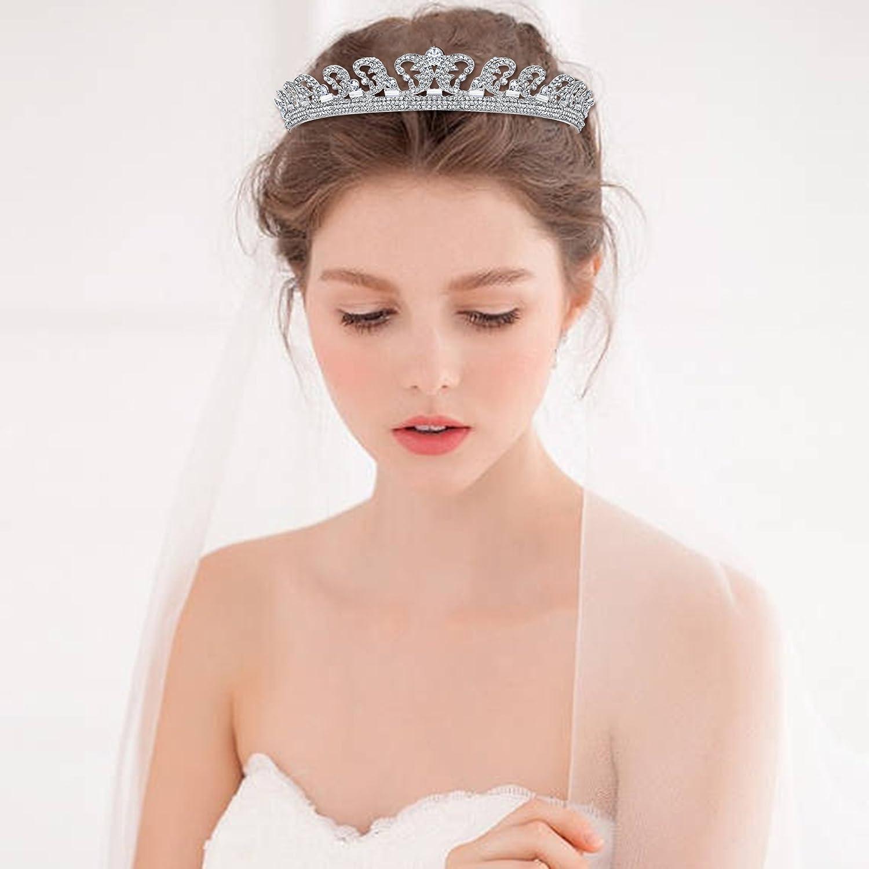 EVER FAITH Gioielli per Capelli Cristallo Princess Ispirato Royal Matrimonio Capelli Corona Tiara Trasparente Argento-Fondo