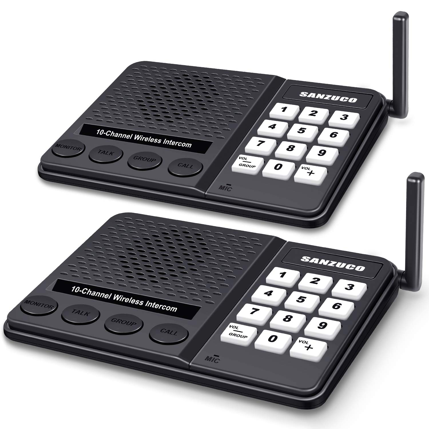 [New Version] Wireless Intercom System for Home - Long Range 1 Mile Home Intercom System with Radio Sound 10 Channel 3 Digital Code - Room to Room Intercoms Wireless for Business Office House (2 Pcs)