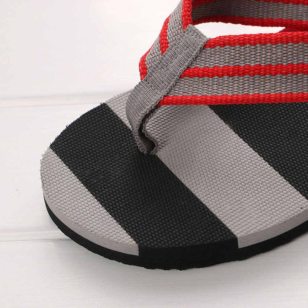 Corriee Mens Fashion Striped Printed Indoor Outdoor Flip Flops Breathable Anti-Slip Shoes Male Summer Slippers Gray by Corriee (Image #3)