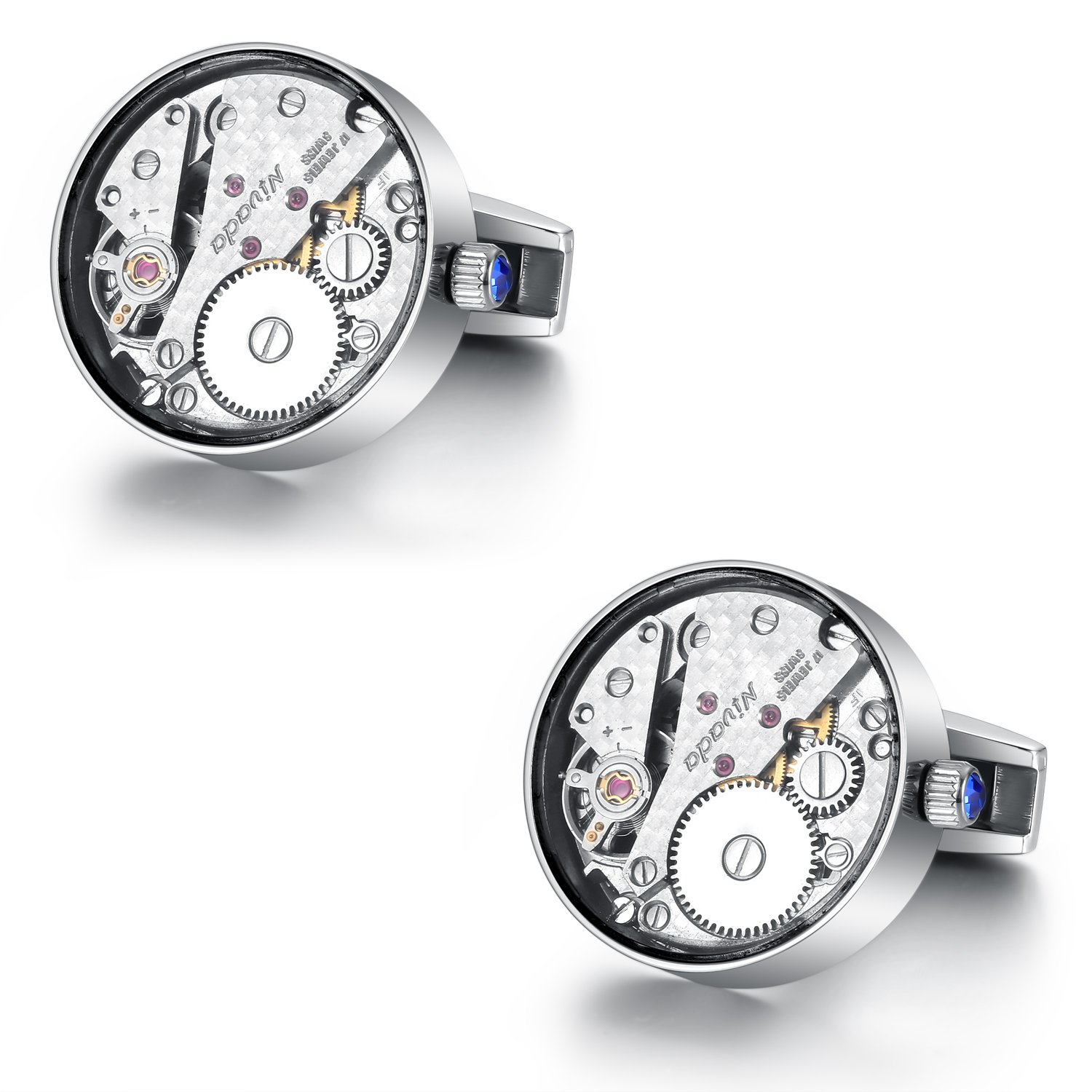 Dich Creat Men's Real Titanium Swiss Movement Cufflinks Covered with Glass/Individually numbered