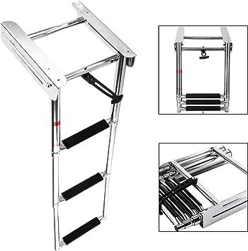 NiceDD 3 pasos Escalera de barco Escalera marina Escalera debajo de la plataforma Escalera deslizante Montaje deslizante Escalera de embarque del barco Escalera telescópica + Tornillo de montaje: Amazon.es: Bricolaje y herramientas