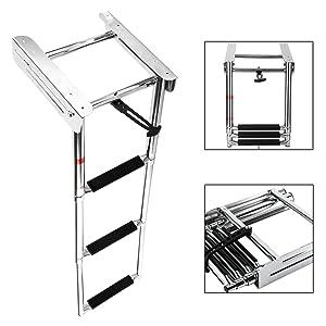 YaeMarine 3 Steps Boat Ladder Marine Ladder Under Platform Ladder Sliding Ladder Slide Mount Boat Boarding Ladder Telescoping Ladder + Mounting Screw