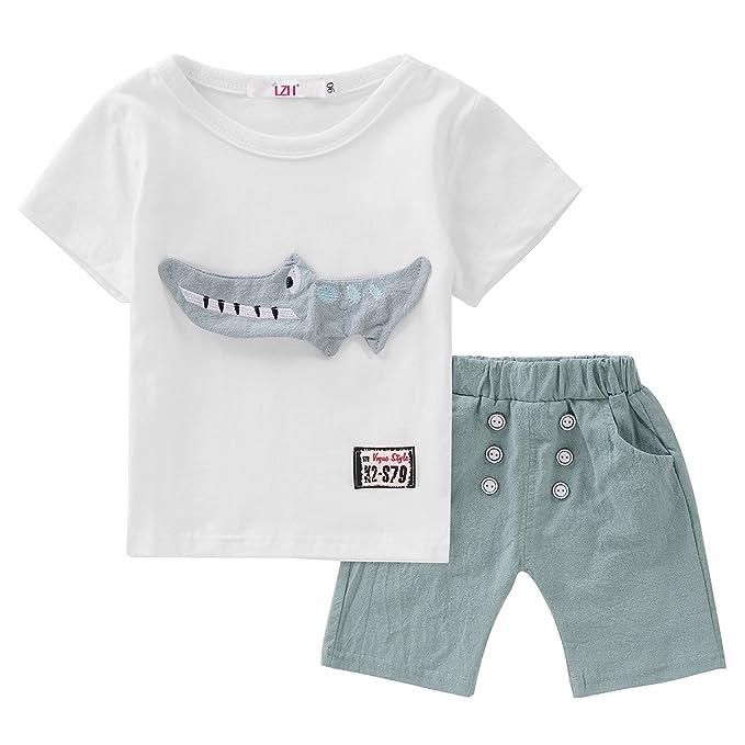1096d79506904a Image Unavailable. Image not available for. Colour: LZH Baby Boys Summer Clothes  T-Shirt+Pants Kids Clothes Sport Suit