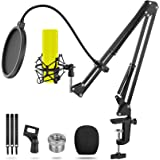 """Microphone Boom Arm Stand,Emazon Online Microphone Arm Stand with Pop Filter and Mic Holder, 5/8""""Screw,Cable Ties for Blue Ye"""
