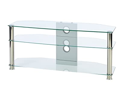a09b49ee760 Amazon.com  TV Stand Clear Glass TV Stand - Suits for 42 50 55 Inch ...
