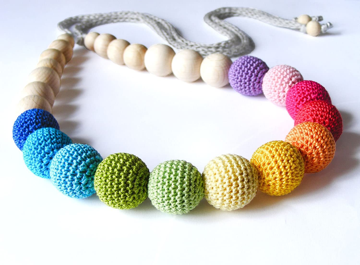Rainbow nursing necklace, multicolor teething necklace, breastfeeding necklace, wooden crochet baby toy, natural teething ring, baby shower gift, Mother day's gift, Waldorf necklace Mother day's gift
