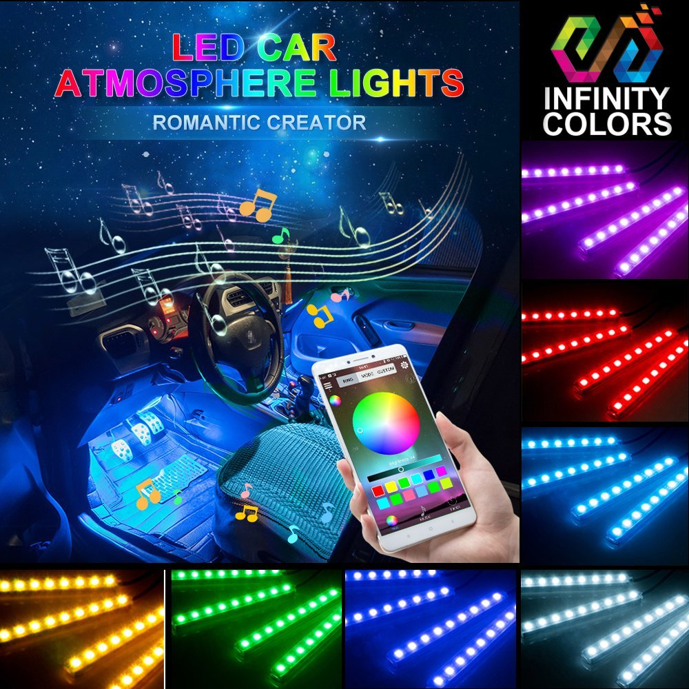 Car LED Strip Light- Carantee 4pcs 48 LED Bluetooth App Control  Multicolor Music Car Interior Lights, Sound Active Function, Waterproof, Multi-Mode Change(DC 12V) A2212