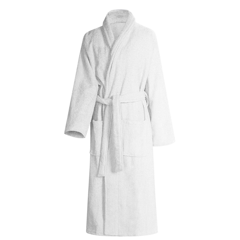 Shumaxx® Men's Ladies Bathrobe Dressing Gown Combed Egyptian Cotton Terry Towelling Shawl Collar Bath Robe (Large, White)