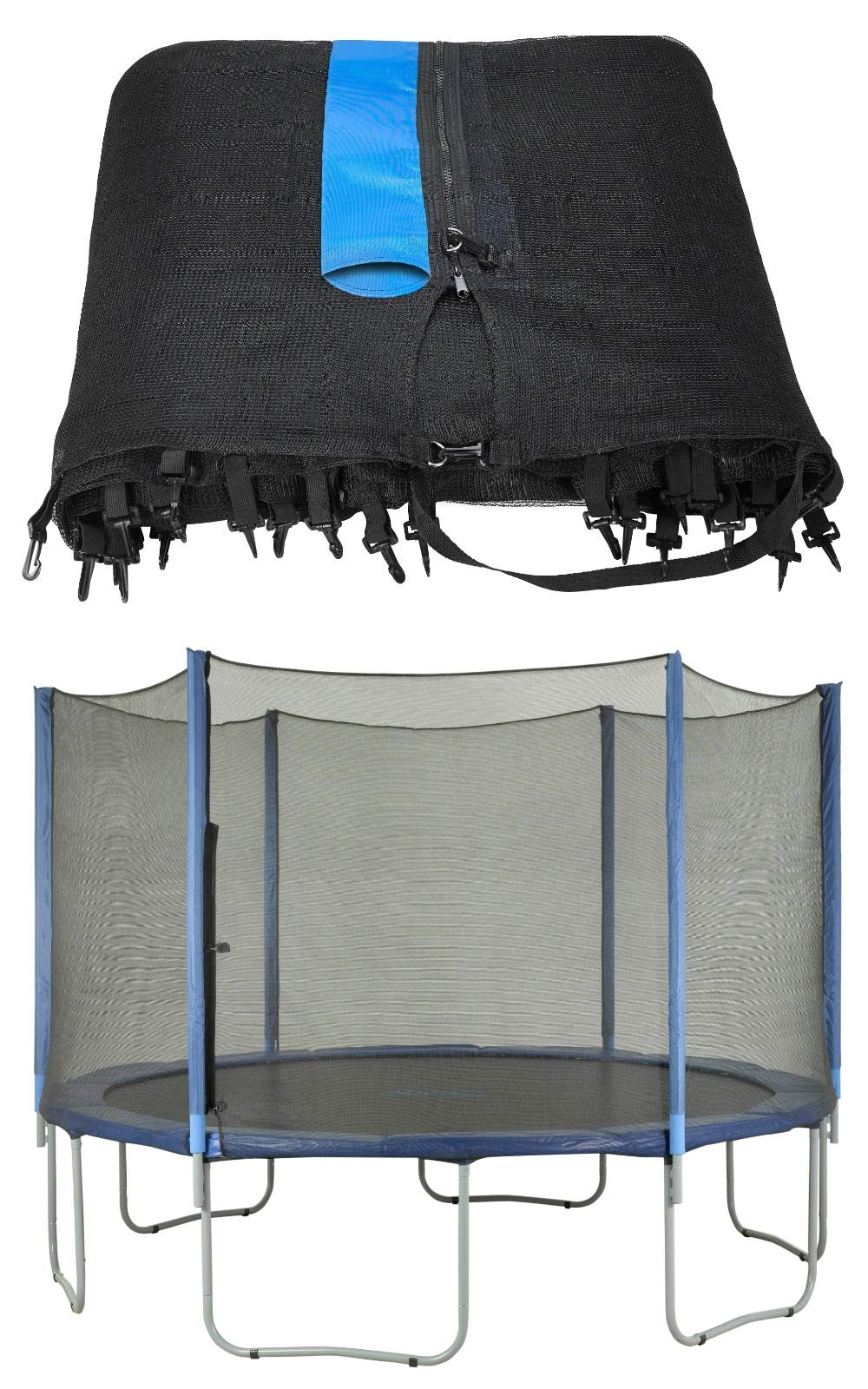 Upper Bounce Trampoline Replacement Net, Fits for 12 FT. Round Frames, Using 6 Straight Poles, Installs Outside of Frame -NET ONLY