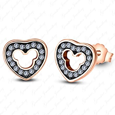 Gemstar Jewellery Brilliant Red Ruby Disney Mickey Mouse Heart Earrings 14K White & Black Gold Finish 86Idx1dcnv