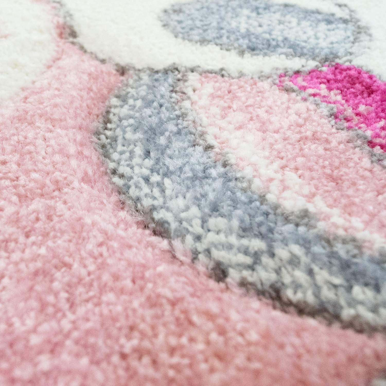 Gr/ö/ße carpet city Kinderteppich-L/äufer Flachflor Bueno Konturenschnitt Einhorn Sterne Regenbogen Rosa f/ür Kinderzimmer 80x150 cm