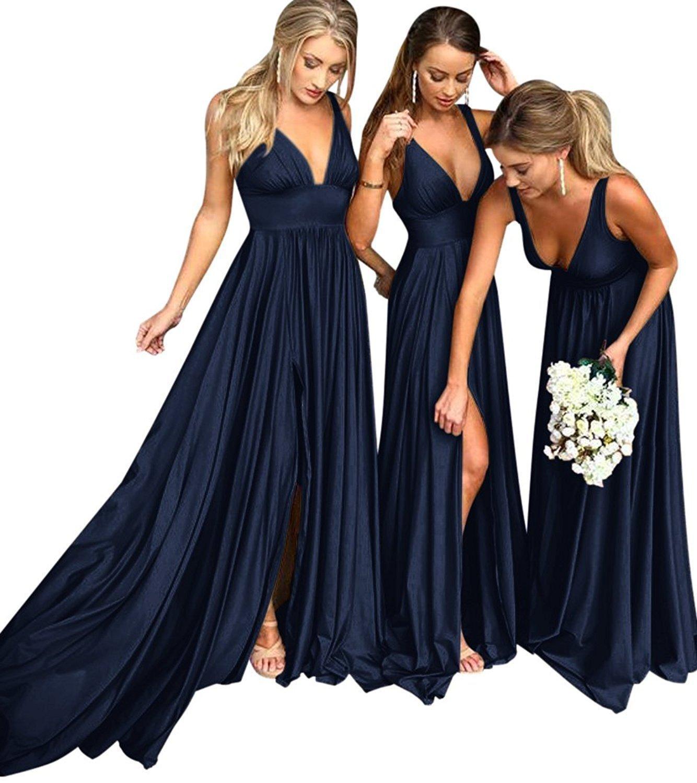 XingMeng V Neck Empire Long Bridemaid Dress Split Prom Evening Dress