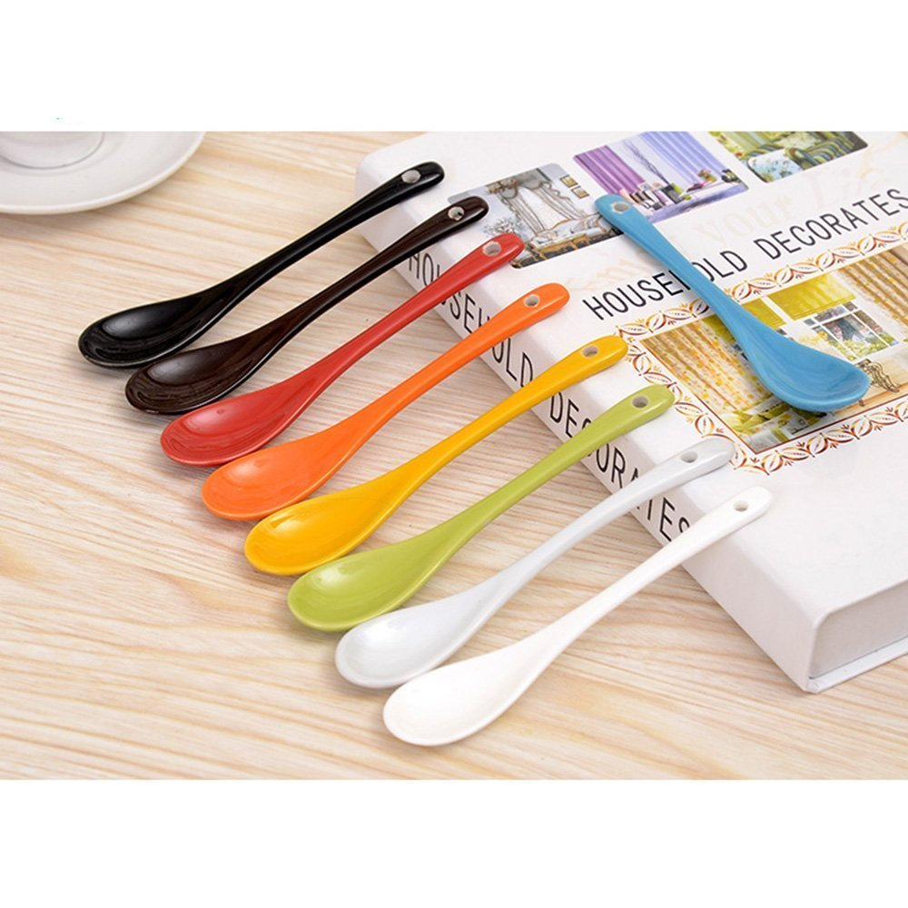 XIDUOBAO Corlorful Porcelain Spoons Mixed Colors Porcelain Coffee/ Tea/ Dessert Spoons.Set of 8 PCS, 5 Inches. S-2
