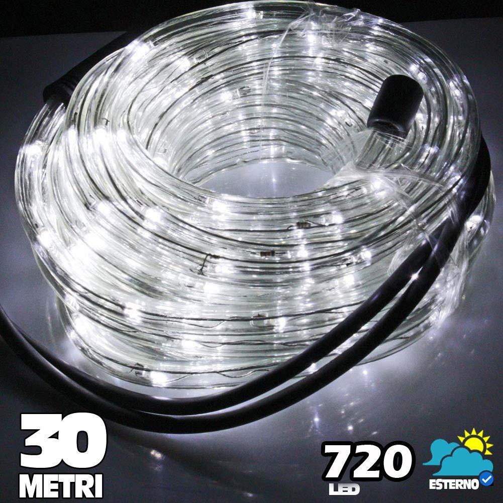 Tubo Luminoso a LED per Natale luci natalizie per Esterno e Interno impermeabile 30 metri 720 led luce BIANCO FREDDO con controller per 8 Giochi di Luce Bakaji