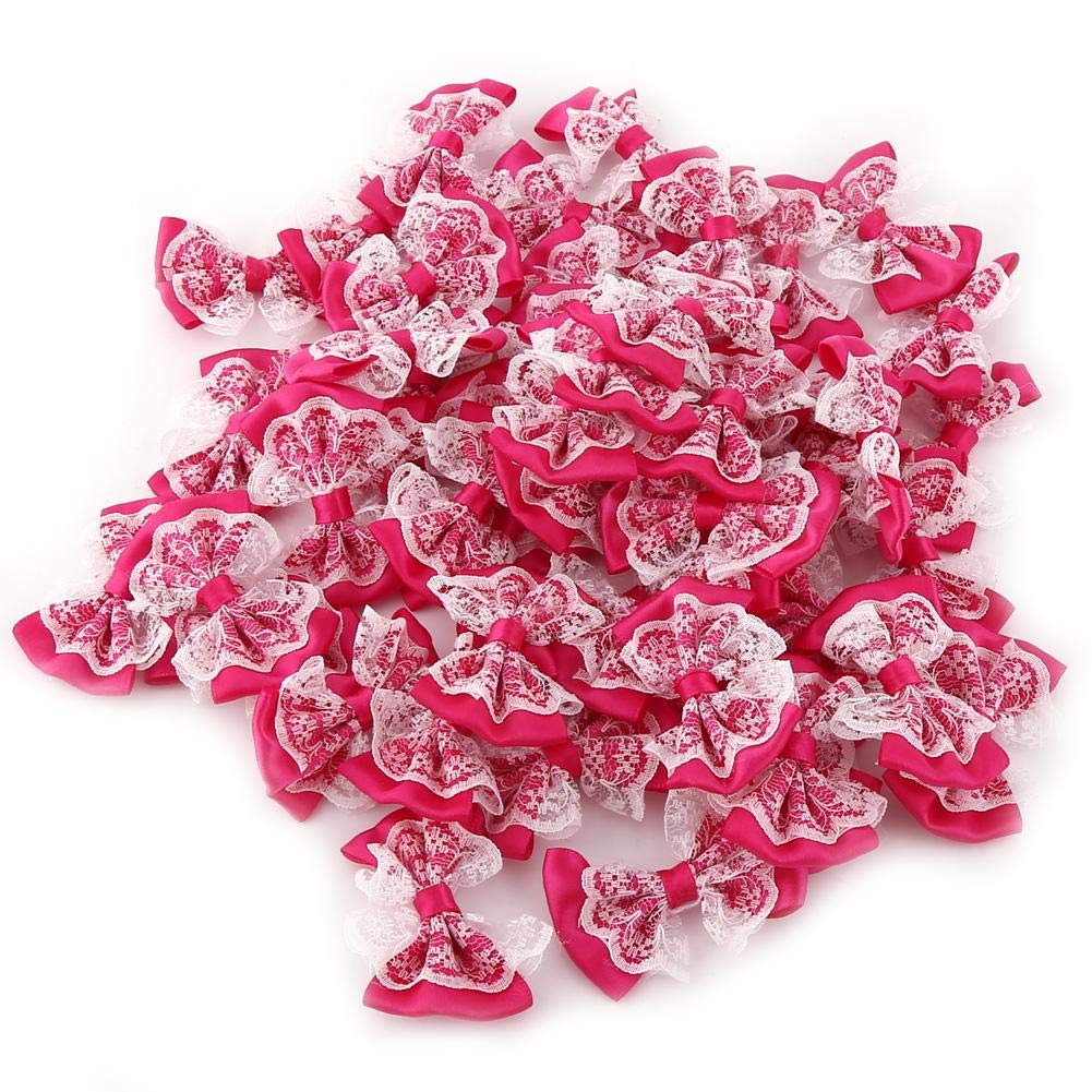 50PCS Bows Craft,Bow Tie Shaped Appliques Lace Craft Appliques for Birthday Party, Wedding Party, Home,Classroom and Clothes Decoration(Rose Red) Wal front