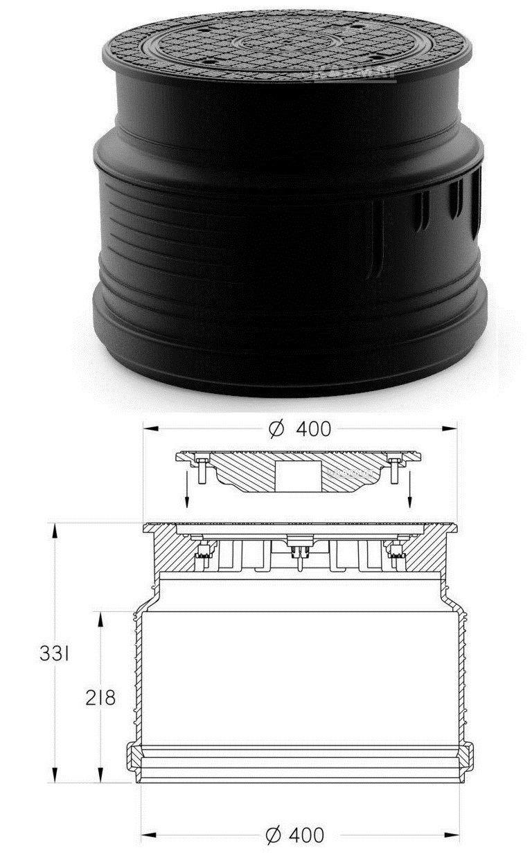 Powermat Kunststoff Schachtabdeckung Schachtdeckel DN400 Wasserdicht Geruchverschluss A15
