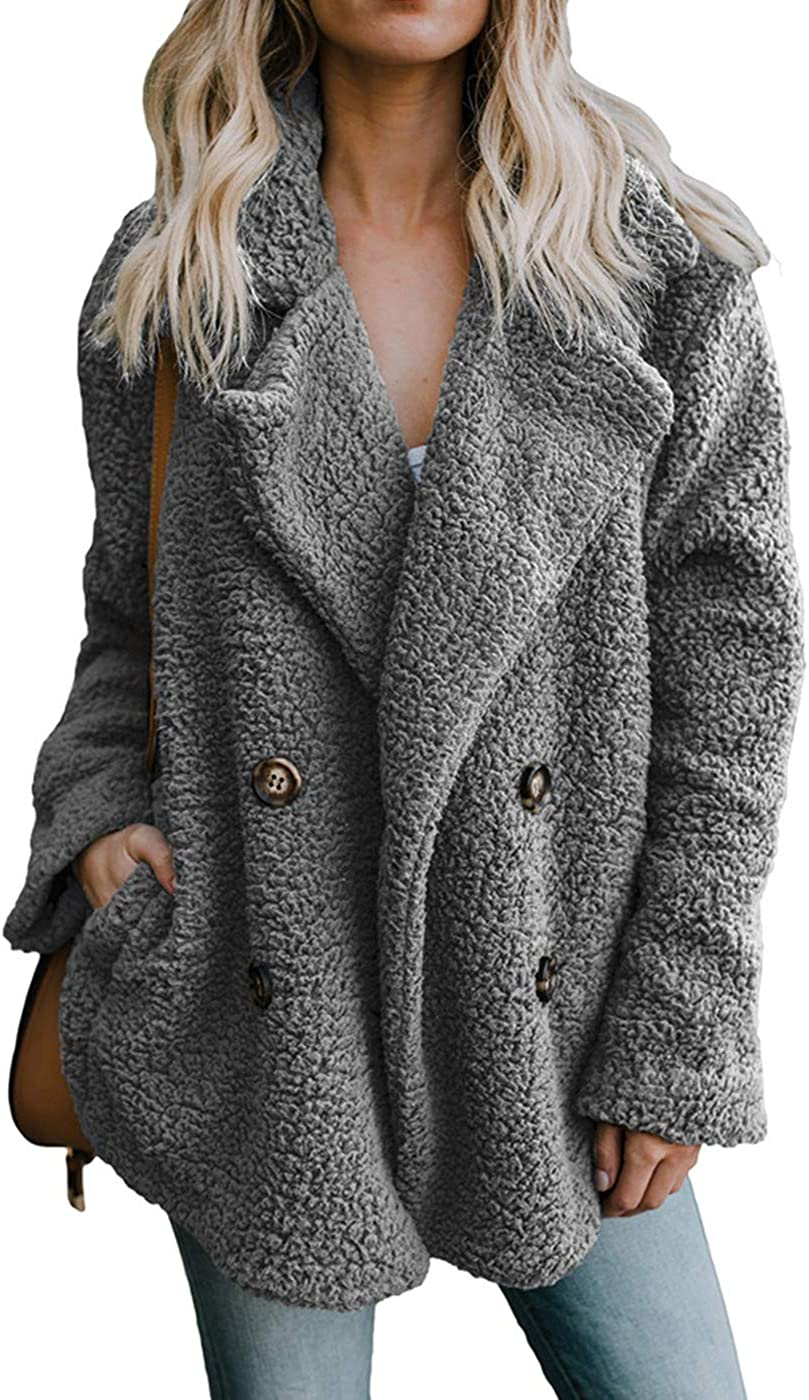 Shawhuwa Womens Fleece Fashion Open Front Cardigan Coat Jacket with Pockets Outwear Warm Winter