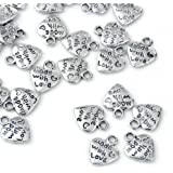 """Lot 50 Silver Plated MADE WITH LOVE Heart Charms 0.35"""" HOT"""