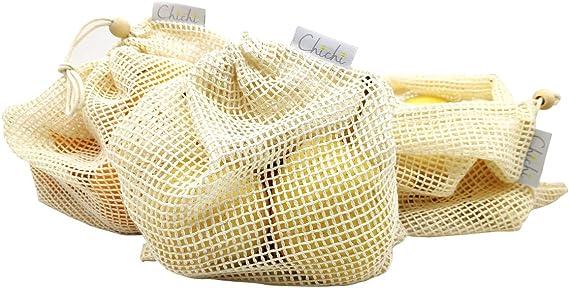 Chichi 7 piezas, bolsas de malla de algodón orgánico, ecológicas ...