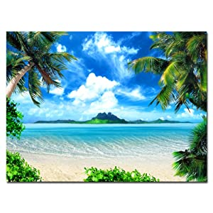 Pyradecor Large Blue Sea Beach Canvas Prints Wall Art Seascape Pictures Paintings for Living Room Bedroom Home Decorations Modern Landscape Giclee Artwork