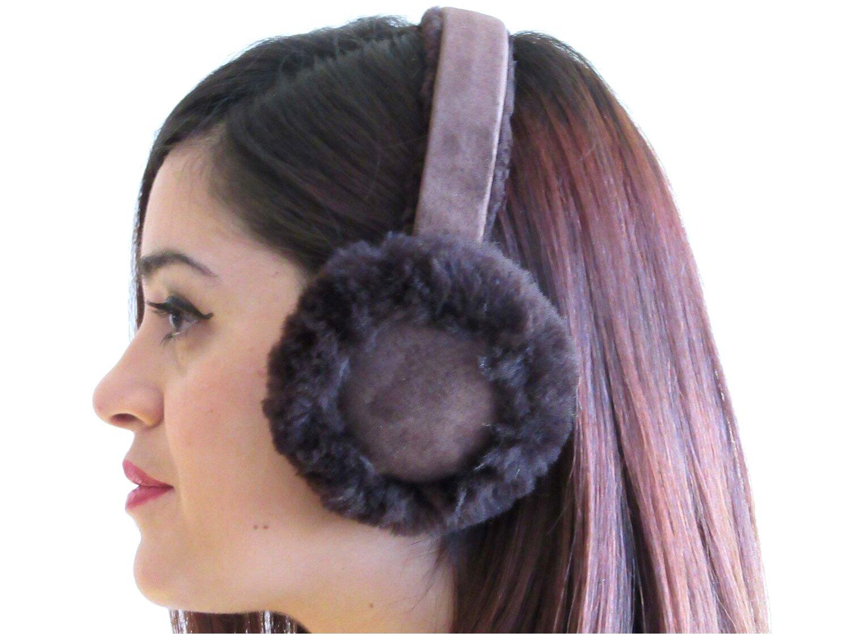 FursNewYork Brown Shearling Sheepskin Ear Muffs with Shearling Suede Covered Band by FursNewYork
