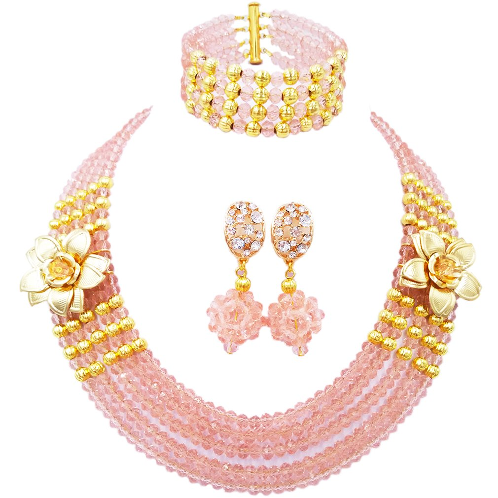laanc Fashion Womens Nigerian Wedding African Peach Crystal Beads Bridal Necklace Jewelry Sets