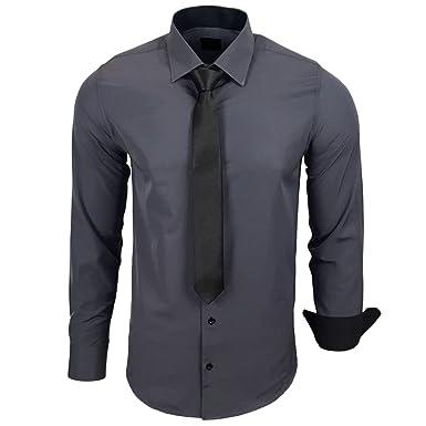 nuovo di zecca ed4ba 70e74 Rusty Neal R-44-KR Camicia da Uomo a Contrasto, con Cravatta, per  Matrimonio, Tempo Libero