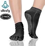 ULTRAFY Yoga Socks Pilates Socks 2 Pack, Non Slip Socks Pure Combed Cotton Elastic Breathable Shrink Resistant Five Finger Toe Socks for Women/Men (6 Colors)