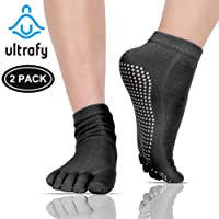ULTRAFY Yoga Socks Pilates Socks 2 Pack, Non Slip Socks Pure Combed Cotton Elastic Breathable Shrink Resistant Five Finger Toe Socks for Women/Men (6 Colors)