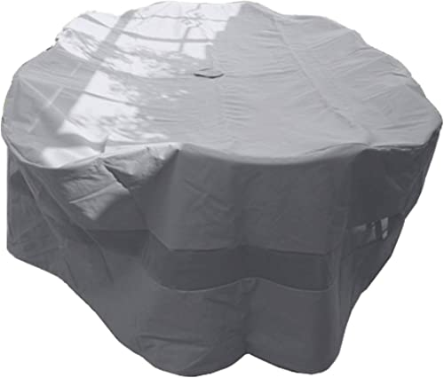 Premium Tight Weave Patio Set Cover 110 x65 X38 H, Oval Style Fits Oval or Rectangular Table Set, Center Hole for Umbrella in Grey