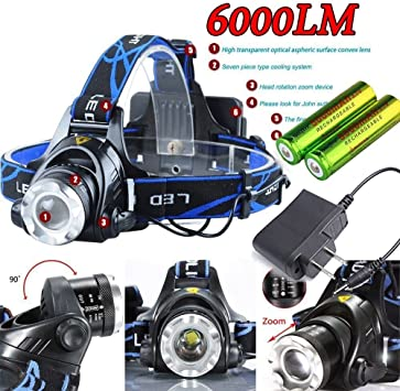 Dosens XM-L T6 LED Headlamp Headlight Zoomable Zoom In//Out 18650+Charge 6000LM
