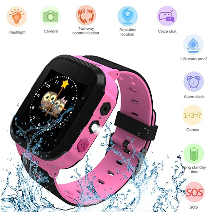 Kids Smartwatch, Waterproof GPS, Child Watch Phone, Camera Watch, SOS Alarm Clock Camera Flashlight Phone, Water-Resistant Smartwatches Phone(Pink)