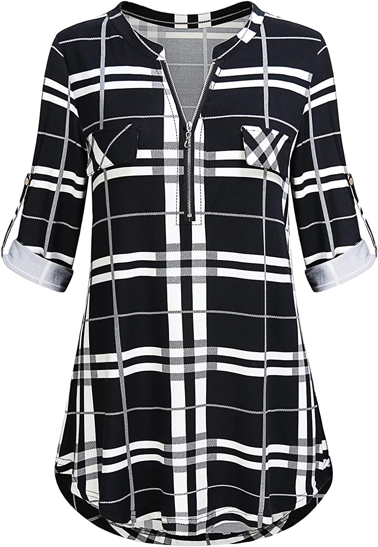 JCZHWQU Women's Zip Up V Neck 3/4 Rolled Sleeve Casual Tunic Shirt