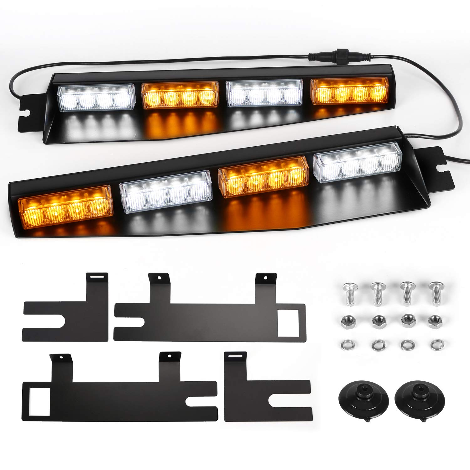 ASPL 32LED Visor Lights 26 Flash Patterns Windshield Emergency Hazard Warning Strobe Beacon Split Mount Deck Dash Lamp with Extend Bracket (Amber/White/Amber/White)