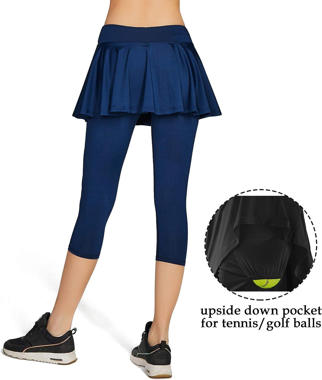 HonourSport Falda Capri para Mujer Deportes faldones Leggings ...