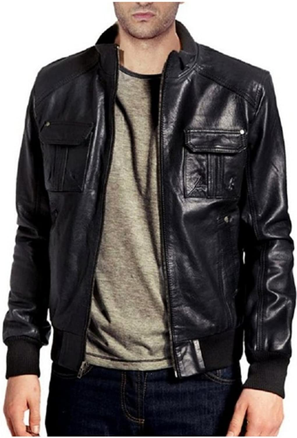 1501127 Laverapelle Mens Genuine Lambskin Leather Jacket Black, Field Jacket