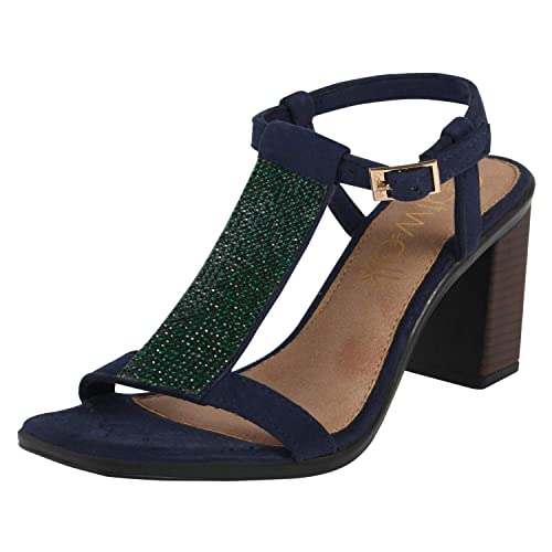 f3d2694c35c Catwalk Women s Blue Block Heel Sandals Fashion  Buy Online at Low ...