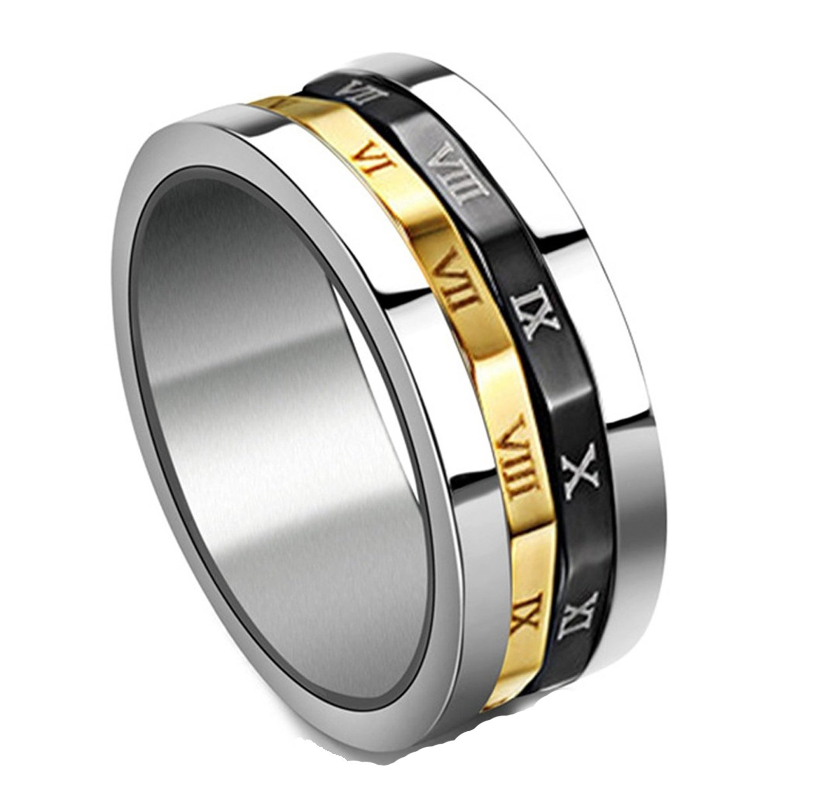 Gold Silvery Black Spinner Stainless Steel Roman Numerals Mens Womens Ring,  Size ''10'' by MIXI