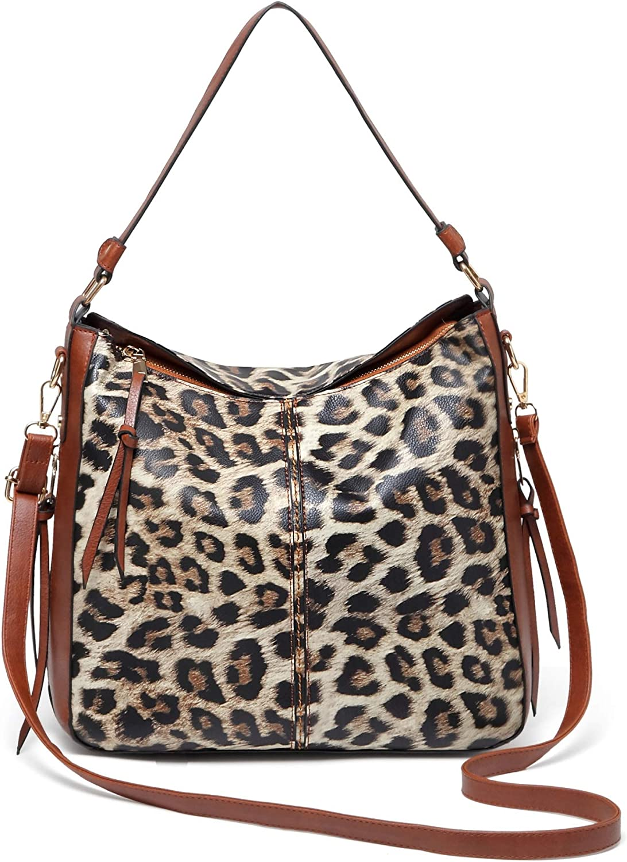 QUARKERA Leopard Print Purses and Handbags for Women Fashion Ladies Cheetah Hobo Shoulder Tote Bags