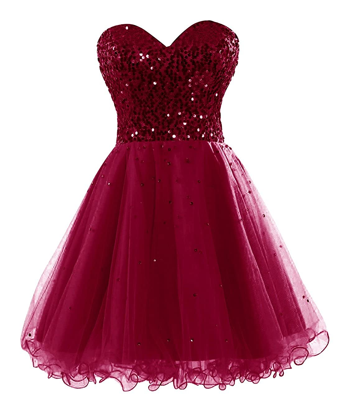 Burgundy Bess Bridal Women's Sequined Lace Up Tulle Short Prom Homecoming Dresses