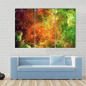 IOIP 3 Pieces Canvas Prints Pelican Nebula 3 Panels/Set Wall Art Painting Wooden Framed Modern Home Bedroom Walls Decor